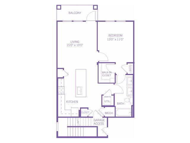 885 sq. ft. A3G floor plan