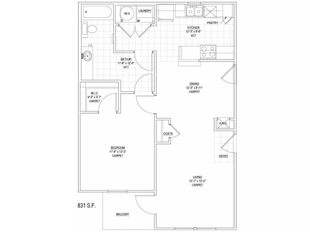 831 sq. ft. 60% floor plan