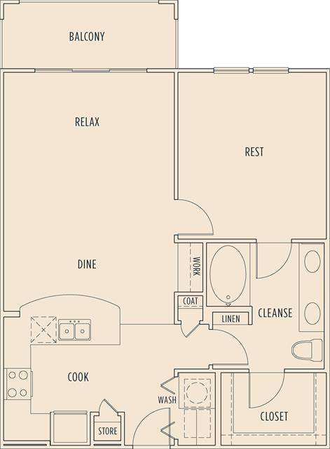 808 sq. ft. A3 floor plan