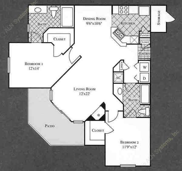 1,137 sq. ft. VINE floor plan