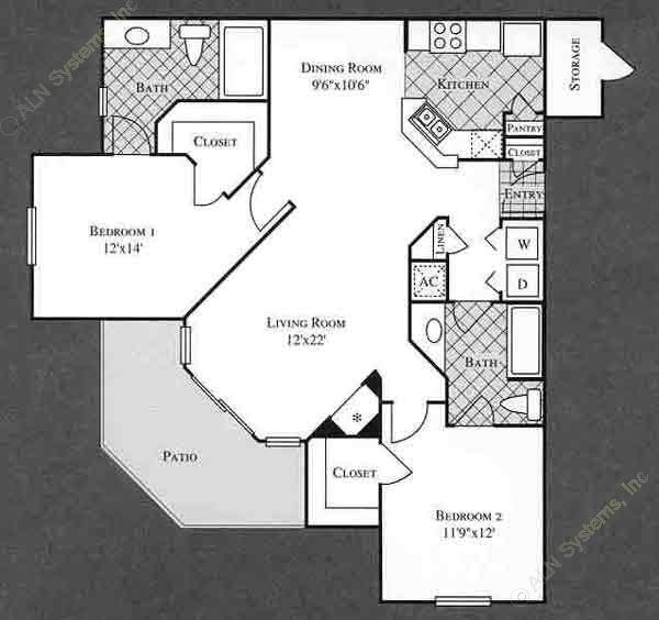 1,137 sq. ft. VINE floor plan