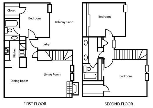1,302 sq. ft. C2 floor plan