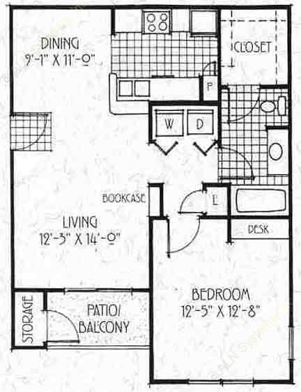 727 sq. ft. A2/60 floor plan