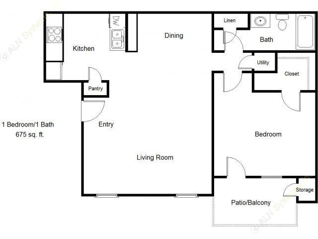 675 sq. ft. 60% floor plan