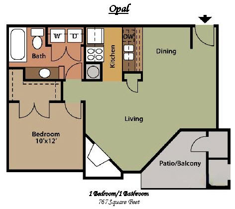 767 sq. ft. B floor plan
