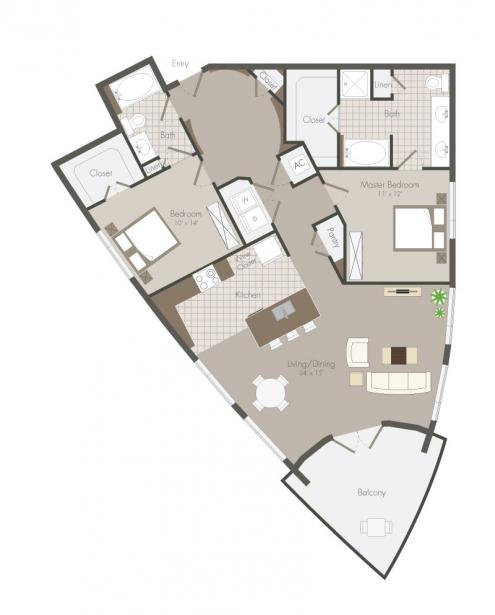 1,321 sq. ft. Prague floor plan