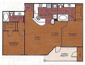 1,045 sq. ft. B2/Houston floor plan