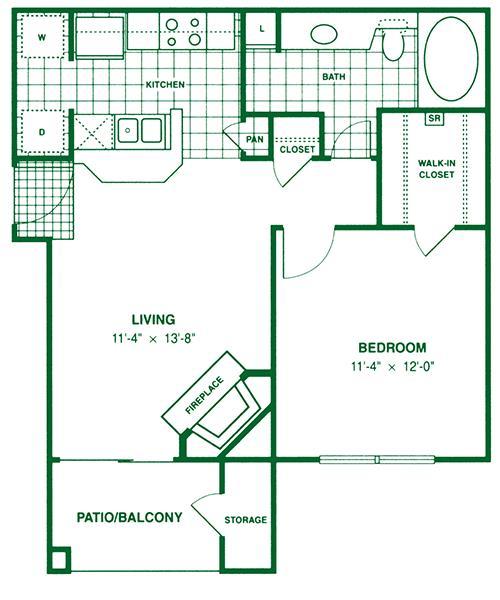 601 sq. ft. A2 floor plan