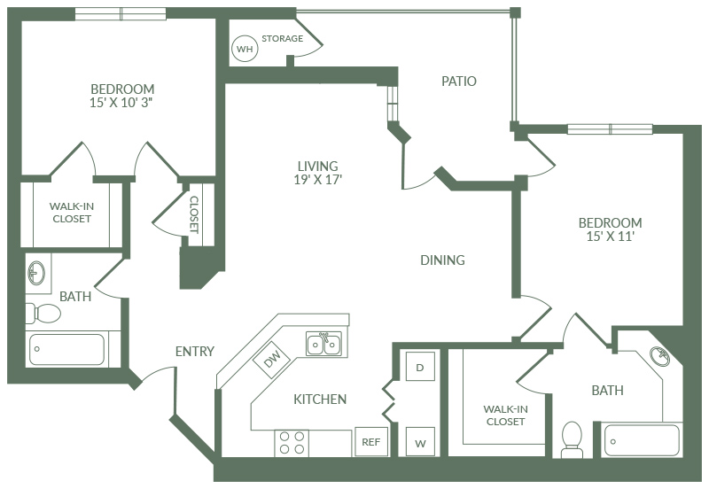 1,148 sq. ft. B2 floor plan