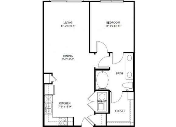 792 sq. ft. A5 PH3 floor plan