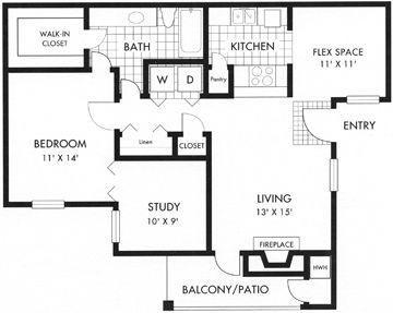 876 sq. ft. floor plan