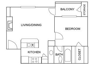 550 sq. ft. A4 floor plan