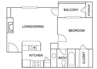 550 sq. ft. A4 floor plan