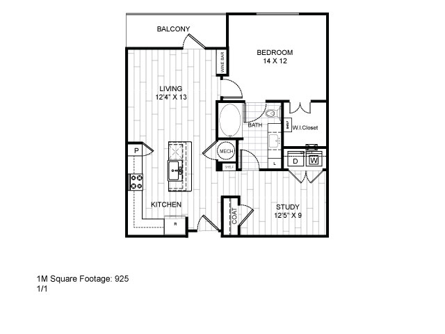 925 sq. ft. 1M floor plan