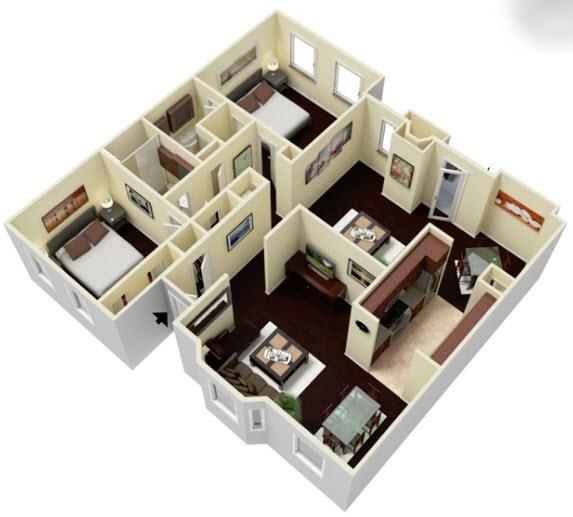 1,557 sq. ft. B2D2 floor plan