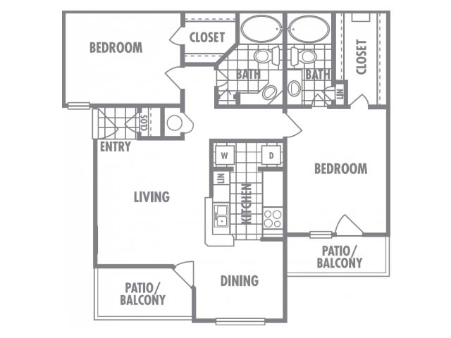1,050 sq. ft. E floor plan