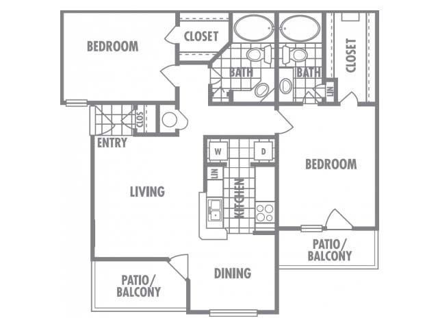 1,050 sq. ft. A2 floor plan