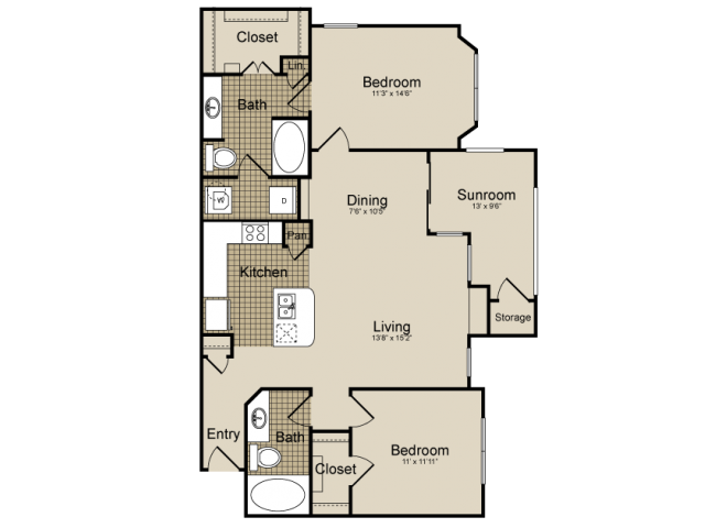 1,219 sq. ft. Tucana   (B5) floor plan
