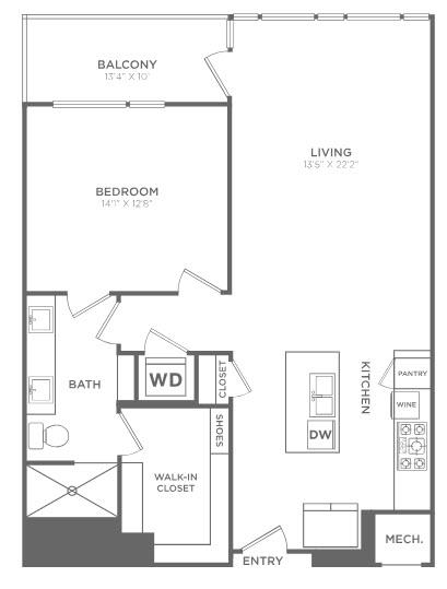 994 sq. ft. TA5 floor plan