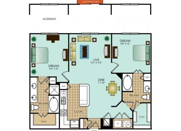 1,137 sq. ft. B8 floor plan
