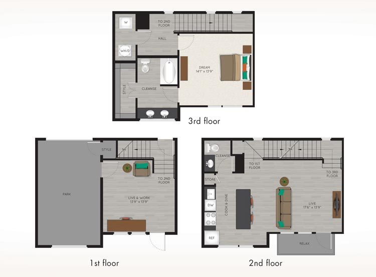 1,204 sq. ft. TH1 floor plan