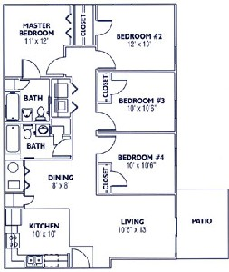 1,410 sq. ft. DT50 floor plan