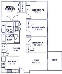 1,276 sq. ft. DR50D floor plan