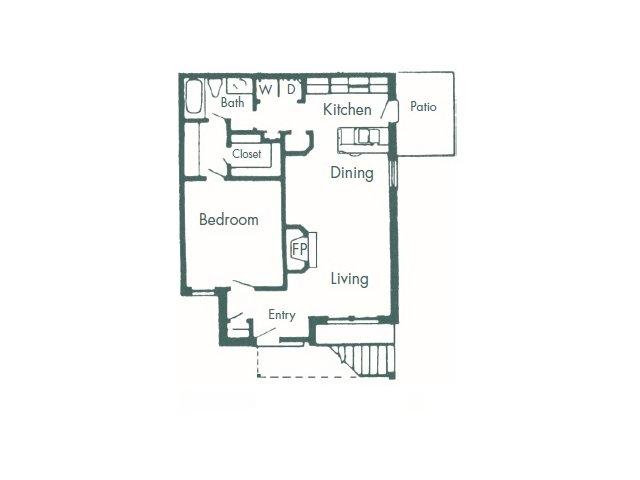 818 sq. ft. B floor plan