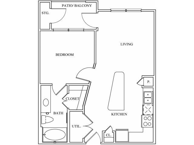 612 sq. ft. A1 floor plan