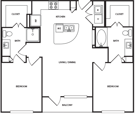 1,033 sq. ft. B1A floor plan