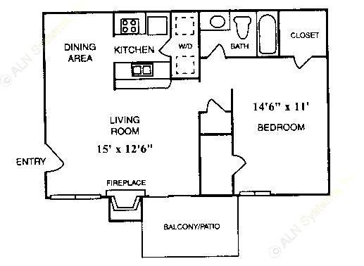 640 sq. ft. A-4 floor plan