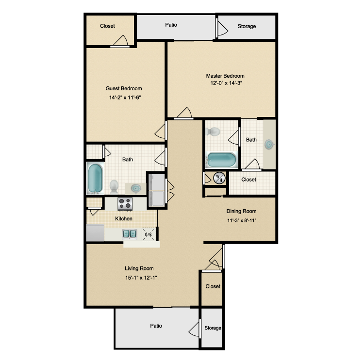 1,171 sq. ft. I floor plan