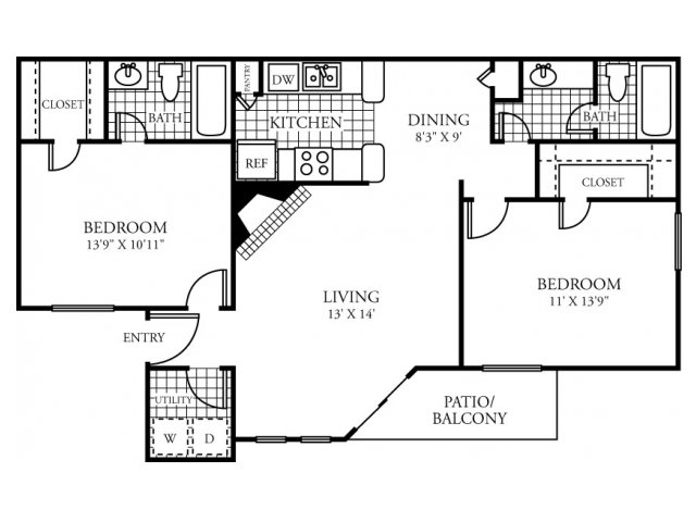 977 sq. ft. E floor plan