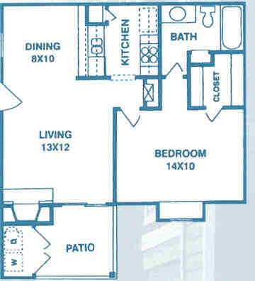 616 sq. ft. A1 floor plan