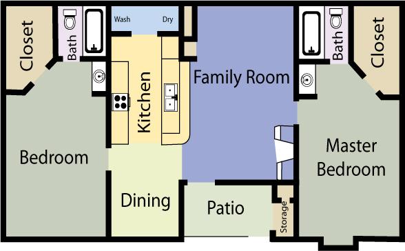 940 sq. ft. Victorian floor plan
