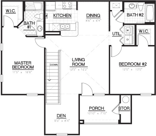 1,222 sq. ft. B1D floor plan