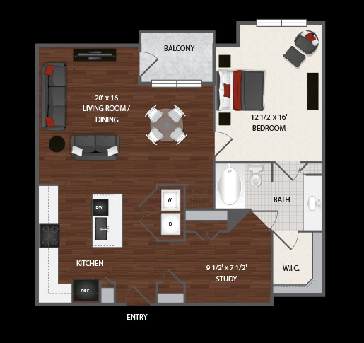 981 sq. ft. Fae floor plan