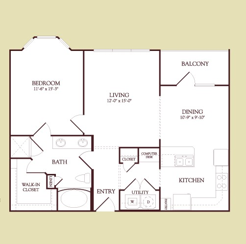 868 sq. ft. DALI floor plan