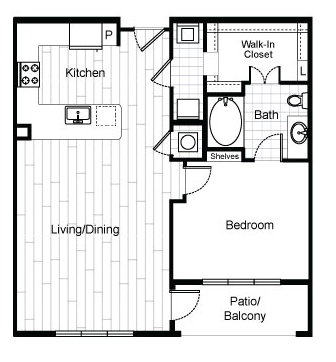827 sq. ft. A5 floor plan