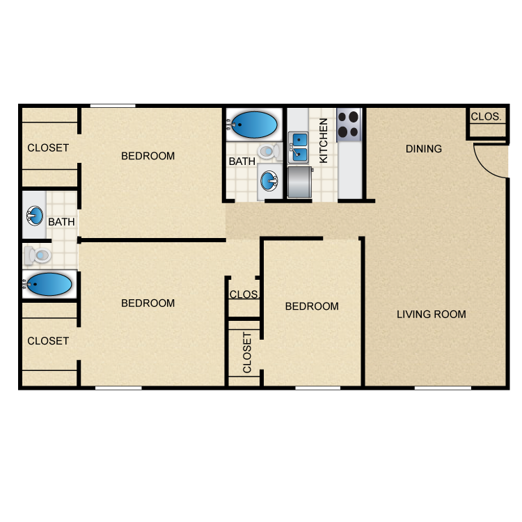 1,054 sq. ft. C1 floor plan