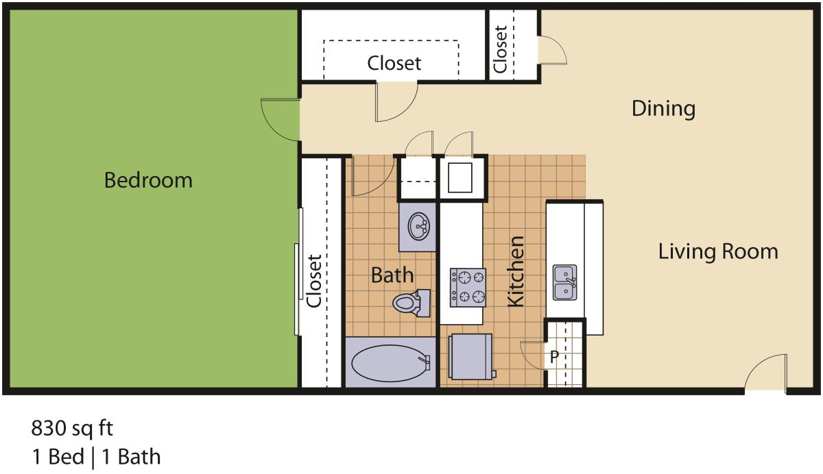 830 sq. ft. Royal II floor plan