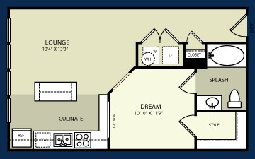 668 sq. ft. E2 floor plan