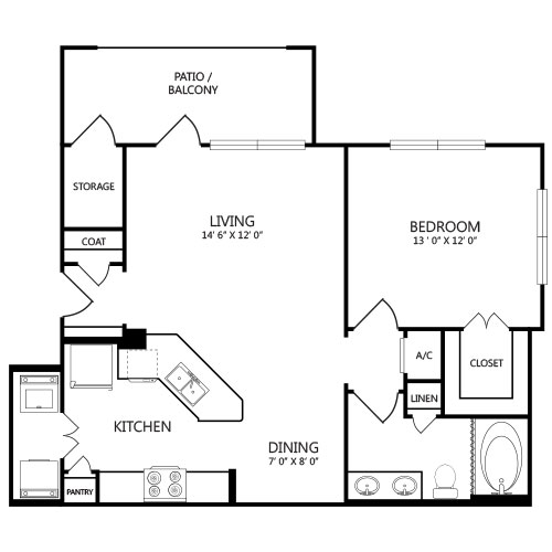 796 sq. ft. A2P floor plan