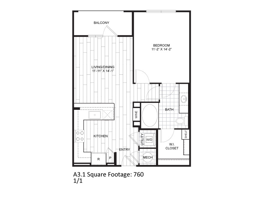 760 sq. ft. A3.1 floor plan