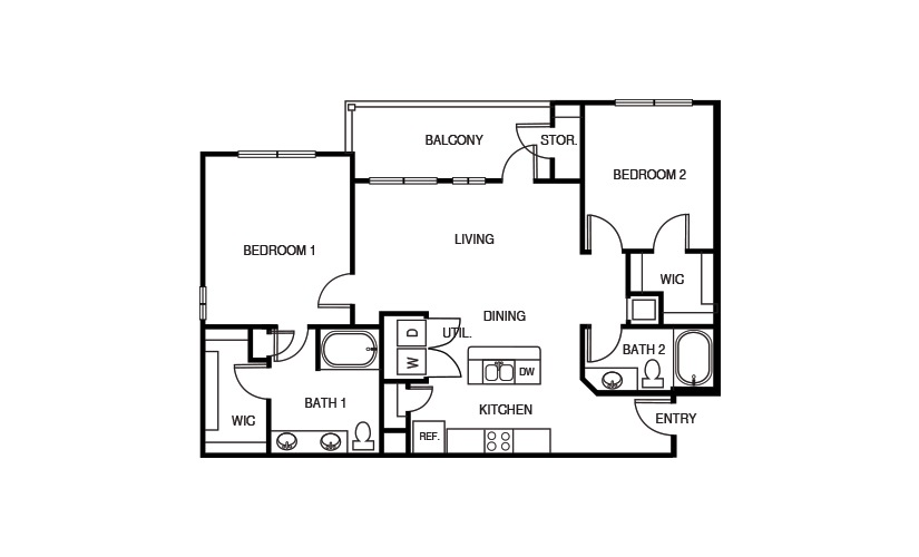 1,150 sq. ft. B3P floor plan