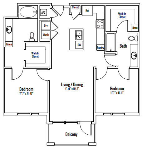 1,122 sq. ft. Mayfield Alt BA floor plan