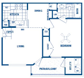 556 sq. ft. Murphy floor plan