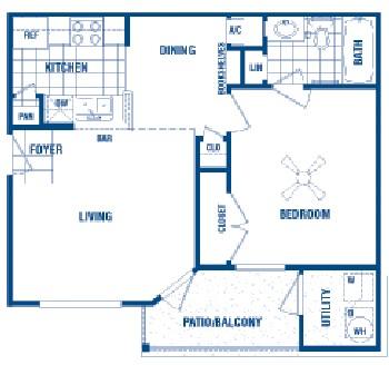 556 sq. ft. Murphy floor plan