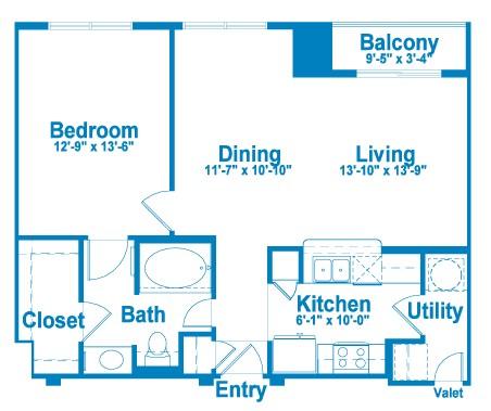 855 sq. ft. AT2.1 floor plan