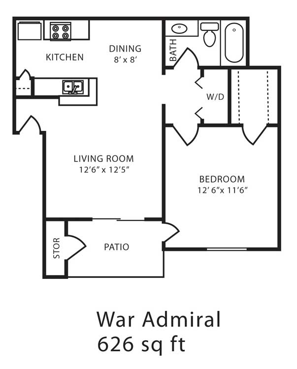 626 sq. ft. B floor plan